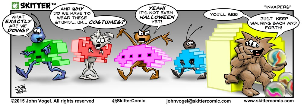 I had a lot of fun doing this strip.  Space Invaders was one of my favorite games when I was a kid.